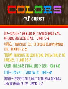 Colors of Christ - Meanings Free Printable - Detail-Oriented Diva!