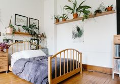 BUDGET-FRIENDLY UPDATES - EXTRA SHELVING: Some simple shelving will barely make a dent in your budget, but do wonders for any blank wall. Easily install a basic piece of wood in any room of the house to add a few decorative items for a lively pop. Small Space Bedroom, Small Space Living, Small Spaces, Living Spaces, Living Room, White Wall Bedroom, Dream Bedroom, White Walls, Master Bedroom