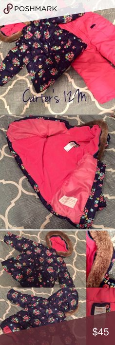 NWOT Carter's 12M Snow Suit Set Puffer & Snow Bibs NWOT Carter's baby girl 12M snow suit set including hooded puffer jacket & snow bibs. Shell, Lining, & Fill all 100% Polyester. Has been washed & tried on but never worn (live in the South, daughter outgrew it before ever had a chance to wear it). Super adorable & perfect for a day playing in the snow. Carter's Jackets & Coats