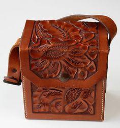 Vintage 1930's Hand Tooled Western Carved Leather Bag Handbag Purse Sunflowers