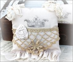 Crown Sachet with Ruffle - 18.50 -  This is a lightly scented  lavender sachet that  has been created from  vintage items ~  It measures 8 x 10 inches  including the ruffle ~ http://www.katiesrosecottagedesigns.com