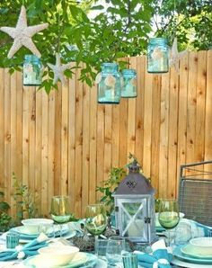 Love the glass jar lanterns!