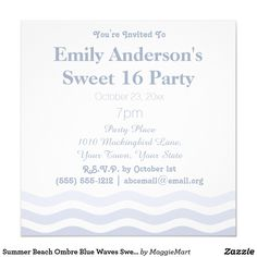Summer Beach Ombre Blue Waves Sweet 16 Birthday
