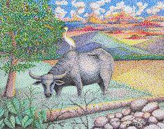 Carabao by Cyril Maza Alibata Tattoo, Rizal Park, Filipino Tattoos, National Animal, Pointillism, Art Inspo, Painting & Drawing, Moose Art, Art Pieces