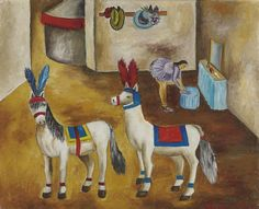 María Izquierdo (Mexican, 1902-1955), Los caballitos pony en su camerino [The Merry-go-Round Ponies in their Dressing Room], 1945. Oil on canvas, 18 x 22 in.