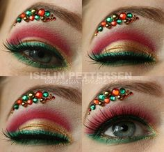 Christmas makeup from Makeup Bee; I would love to recreate this minus the jewels for a Christmas party