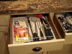 Kitchen drawer organization: On a budget! by Doltonadime on youtube.com (I actually did this to all of my drawers and organized my neighbor's entire kitchen like this, after watching many, many organizing videos.  This person, in my opinion, does the best videos and explanations for the majority of people who just need an easy and cost-effective way to organize. ) www.simplifyyourlifestyle.wordpress.com