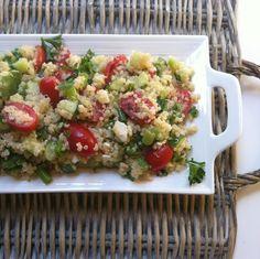Tomato Cucumber Feta Quinoa Salad: crunchy cucumber, creamy feta and fresh tomatoes mixed with a light lemony dressing //A Cedar Spoon