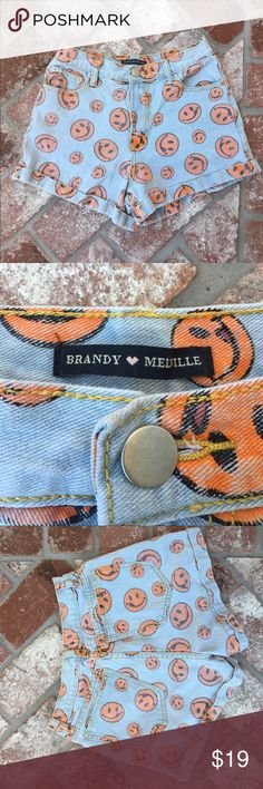 Brandy Melville high waisted smiley face shorts High waisted smiley shorts from Brandy Melville. Look brand new. Brandy Melville Shorts Jean Shorts