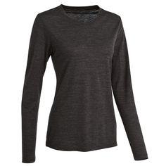 35 - Hiking Clothing - TechWool 155 Women's Merino Wool Base Layer - Black, Long Sleeve QUECHUA - Women