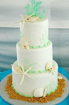 Inspiring Beach Wedding Cake, with Shells and Coral