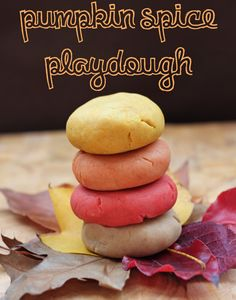 Neat recipe for natural pumpkin spice playdough! 1 cup flour, 1 cup water, 1/4 cup of salt (a little more if you use kosher) 1 tablespoon coconut oil, 2 teaspoons cream of tartar, 2 teaspoons pumpkin pie spice (or a mix of cinnamon/ nutmeg/ cloves), optional: food coloring or natural food based dyes (such as beet juice and turmeric).