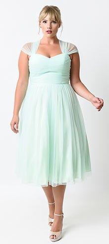 Unique Vintage Plus Size Mint Green Garden State Mesh Cocktail Dress