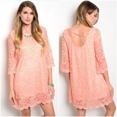 "SALEPeachy lace dress sz SMALL MED Absolutely beautiful and so feminine coral peach dress  delicate detail  fully lined size small bust 34-36 waist up to 36 hips up to 38"" length from armpit down 26"" size medium bust 36-38 waist up to 38 hips up to 40"" length from armpit down 26""  NWOT  excellent quality  95% polyester/5% spandex ❤️PLEASE COMMENT SIZE AND I WILL MAKE YOU A SEPARATE LISTING ❤️ BUNDLE DISCOUNTS DO NOT APPLY TO SALE ITEMS Boutique label Dresses"