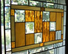 Shades of Amber Waterglass Ivory Tan Beveled Stained Glass Window Panel Geometric Style