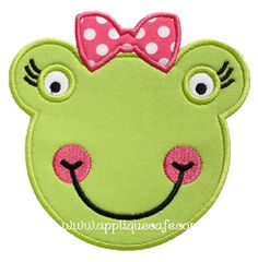 623 Girly Frog Face Machine Embroidery by AppliqueCafeDesigns