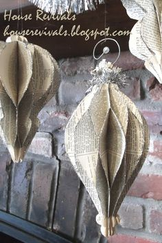vintage book / newspaper ornaments (link to the tutorial)