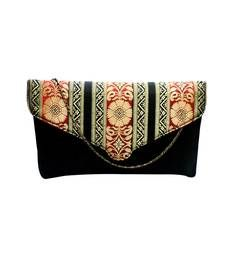 Buy Raw Silk Clutch with Multicoloured Traditional Design Flap (Black) clutch online