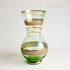 Vintage Retro 1950s Green Glass Vase with Gold Gilt Rings by UpStagedVintage on Etsy