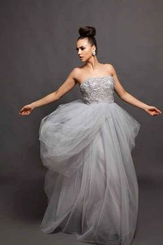 """""""Alva"""" Beaded Gown...Silvery Grey never looked so Beautiful!"""