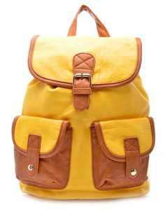 BLACKCHERRY | Backpack in Yellow and Tan - - Style36 Festival Fashion, Fashion Backpack, Backpacks, Yellow, Bags, Handbags, Dime Bags, Women's Backpack, Totes