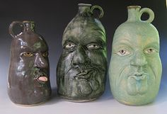 Face jugs by Rosemary Griggs Clay Art on St. Simons.