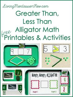 Free greater than, less than alligator math printables and Montessori-inspired activities