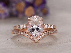 7x9mm oval Morganite engagement ring rose gold 14k moissanite