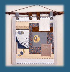 Détail de décoration de l 'intérieur de la maison de Brigitte, gite de charme dans le Finistère. Patchwork avec broderies à la main.