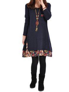 Women Loose Floral Printed Stitching Causal Mini Dress