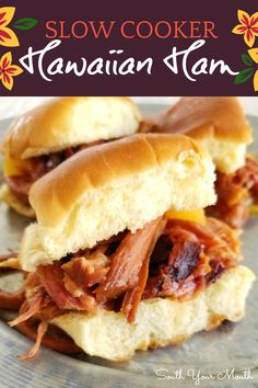 Slow Cooker Hawaiian Ham | A super easy crock pot recipe with ham, brown sugar and pineapple. Serve as-is or make Hawaiian Ham Sliders!