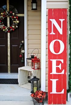 Outdoor Christmas Decoration Ideas - Painted Christmas Sign on Recycled Wood - Click Pic for 20 Front Porch Christmas Decorating Ideas