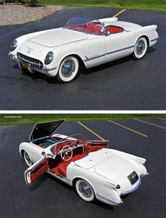 1953 Chevrolet Corvette. First year for the Corvette, when only 300 were built. Today these rare cars fetch about $200,000 at auction.