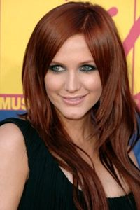ashley simpson long layered red hair