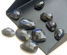 9 Pcs Labradorite Rose Cut Cabochons Rare Dark by gemsforjewels
