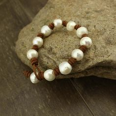 Leather pearl bracelet  pearl leather by WangDesignJewelry on Etsy