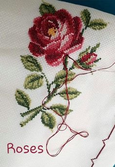 Lovely floral/roses cross stitch embroidered tablecloth in linen from Sweden Cross Stitch Tree, Cross Stitch Borders, Cross Stitch Flowers, Cross Stitch Charts, Cross Stitch Designs, Cross Stitching, Cross Stitch Embroidery, Cross Stitch Patterns, Floral Embroidery