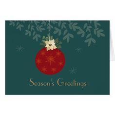 Season's Greetins.Red bulb and poinsettia Card #cards #christmascard #holiday