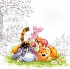 Winnie The Pooh Drawing, Cute Winnie The Pooh, Winne The Pooh, Winnie The Pooh Quotes, Eeyore Pictures, Winnie The Pooh Pictures, Disney Tattoos, Cute Disney Wallpaper, Art Mural