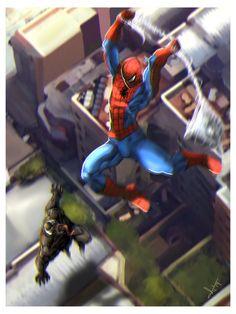 Spiderman vs Venom fan art by victter-le-fou on DeviantArt Marvel Dc Comics, Marvel Heroes, Marvel Avengers, Best Marvel Characters, Comic Book Characters, Man Vs, Spider Verse, Amazing Spiderman, Comic Art