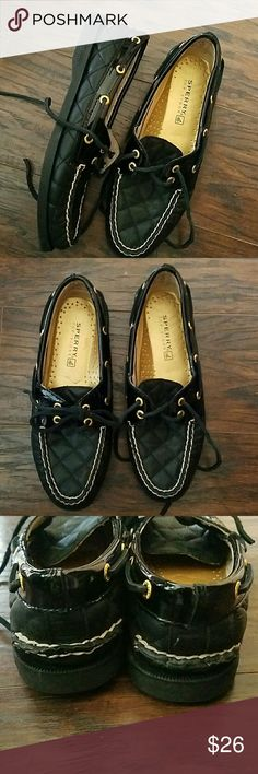 SPERRY Top-Sider women's size 6 Black Quilted Lthr SPERRY top sider women's size 6 Black Quilted Lthr Sperry Top-Sider Shoes Flats & Loafers