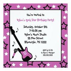 Rock Star Birthday Party Invite Purple Square