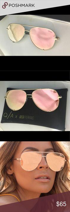 Quay x Desi Perkins High Key Gold Sunglasses Authentic Quay x Desi Perkins High Key Gold/Gold mirrored Aviator Style Sunglasses   -Includes all original packaging (case included)  -Condition: Brand New (never worn) Quay Australia Accessories Sunglasses
