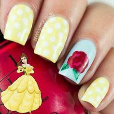 Love, love, love these Belle inspired nails! Favorite Disney Princess!