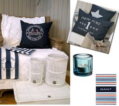 You can tell that spring is on its way when I start seeing white and navy blue everywhere! Coastal Colors, Navy Blue, Cottage, Canning, Bedroom, Decoration, Spring, Beach, Summer