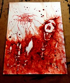 """Another one for the serie about black metal. """"Transilvanian Hunger"""" (painted with my blood) For sale! Contact me if you are interested."""