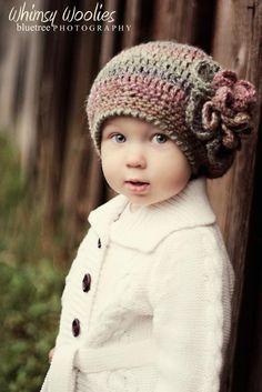 "PATTERN:   ""Raspberry Beret"" with Flower, Crochet Hat, Toddler, Child & Adult. $4.99, via Etsy."