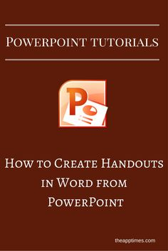 In this PowerPoint tutorial, we'll show you how to create handouts in Word from a PowerPoint presentation in just a few simple steps. Computer Lessons, Technology Lessons, Computer Help, Computer Technology, Computer Programming, Educational Technology, Computer Tips, Medical Technology, Energy Technology