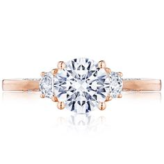 Simply Tacori engagement ring in 18k rose gold with 0.28 ct. t.w. diamonds (center stone not included), $3,490; Tacori