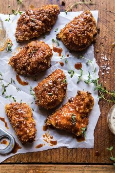 Oven Fried Southern Hot Honey Chicken by Half Baked Harvest Oven Fried Chicken, Nashville Fried Chicken Recipe, Honey Chicken Recipes, Honey Butter Chicken, Nashville Chicken, Honey Baked Chicken, Fried Chicken Dinner, Healthy Fried Chicken, Breaded Chicken Recipes